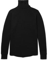 Pull à col roulé en laine en tricot noir