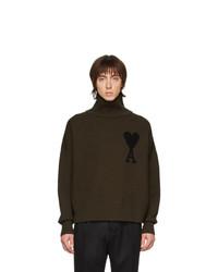 Pull à col roulé en laine en tricot olive AMI Alexandre Mattiussi