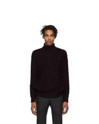 Pull à col roulé en laine en tricot pourpre foncé