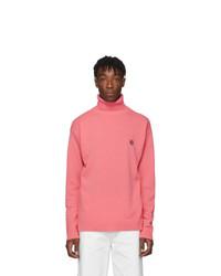 Pull à col roulé en laine en tricot rose