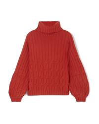 Pull à col roulé en laine en tricot rouge