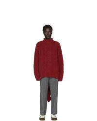 Pull à col roulé en laine en tricot rouge Loewe