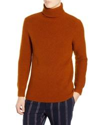 Pull à col roulé en laine en tricot tabac