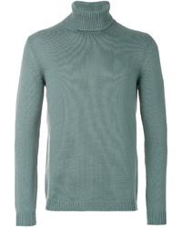 Pull à col roulé en laine en tricot turquoise Roberto Collina