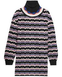 Pull à col roulé en laine en tricot violet clair Missoni