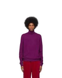 Pull à col roulé en laine en tricot violet Gucci