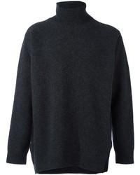 Pull à col roulé en laine gris foncé