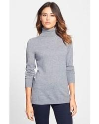 Pull à col roulé en laine gris