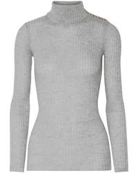 Pull à col roulé en laine gris Balmain