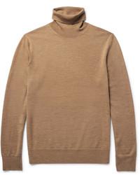 Pull à col roulé en laine marron clair