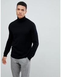 Pull à col roulé en laine noir ASOS DESIGN