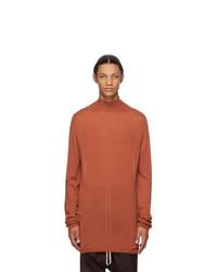 Pull à col roulé en laine orange