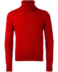 Pull à col roulé en laine rouge