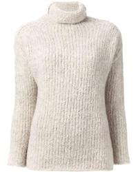 Pull à col roulé en tricot beige
