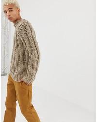 Pull à col roulé en tricot beige ASOS DESIGN
