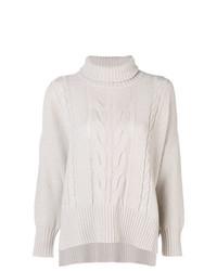 Pull à col roulé en tricot beige Lorena Antoniazzi