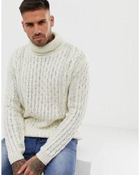 Pull à col roulé en tricot beige Pull&Bear