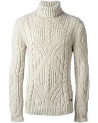 Pull à col roulé en tricot beige Woolrich