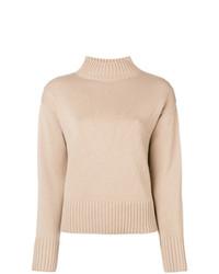 Pull à col roulé en tricot beige Yves Salomon