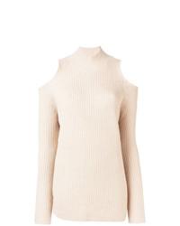 Pull à col roulé en tricot beige Zoe Jordan