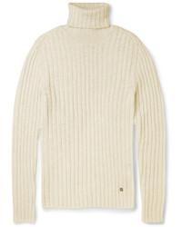 Pull à col roulé en tricot blanc