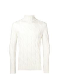 Pull à col roulé en tricot blanc Dell'oglio