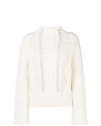 Pull à col roulé en tricot blanc Ermanno Scervino