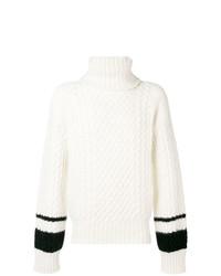 Pull à col roulé en tricot blanc Haider Ackermann