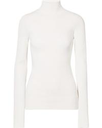 Pull à col roulé en tricot blanc Helmut Lang