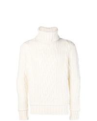 Pull à col roulé en tricot blanc Paul & Shark
