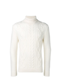 Pull à col roulé en tricot blanc Tagliatore