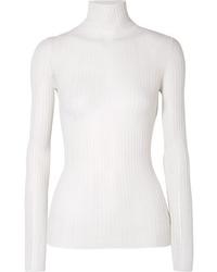 Pull à col roulé en tricot blanc Theory