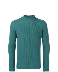 Pull à col roulé en tricot bleu canard Roberto Collina