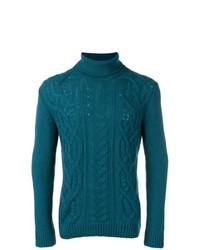Pull à col roulé en tricot bleu canard Tagliatore