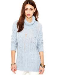 Pull à col roulé en tricot bleu clair