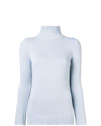Pull à col roulé en tricot bleu clair Aragona