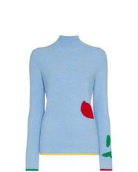 Pull à col roulé en tricot bleu clair I Am Chen