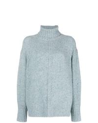 Pull à col roulé en tricot bleu clair Isabel Marant