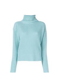 Pull à col roulé en tricot bleu clair Lamberto Losani