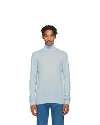 Pull à col roulé en tricot bleu clair Lanvin