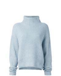 Pull à col roulé en tricot bleu clair Le Kasha