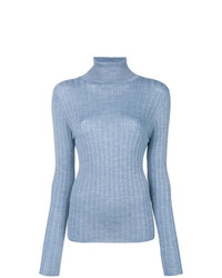 Pull à col roulé en tricot bleu clair Sara Lanzi