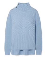 Pull à col roulé en tricot bleu clair Veronica Beard