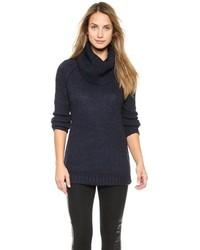 Pull à col roulé en tricot bleu marine
