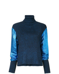 Pull à col roulé en tricot bleu marine Cédric Charlier