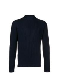 Pull à col roulé en tricot bleu marine Dell'oglio