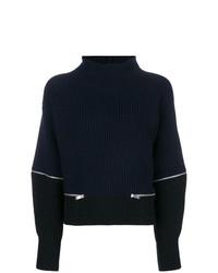 Pull à col roulé en tricot bleu marine Dondup