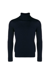 Pull à col roulé en tricot bleu marine Drumohr
