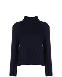 Pull à col roulé en tricot bleu marine Eudon Choi