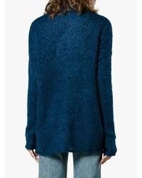 Pull à col roulé en tricot bleu marine Simon Miller